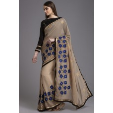 BLACK AND BEIGE PARTY WEDDING SAREE
