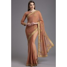 DARK PEACH PAKISTANI DESIGNER SAREE