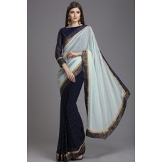 ZIDC-558 NAVY BLUE AND GREY INDIAN PAKISTANI FORMAL SAREE