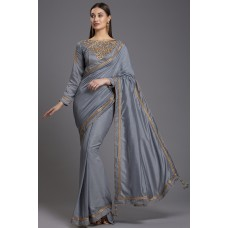 ZIDC-556 GREY PAKISTANI DESIGNER SAREE
