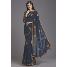 GREY INDIAN TRADITIONAL READY TO WEAR SAREE