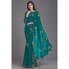 ZIDC-568 TURQUOISE INDIAN DESIGNER SAREE