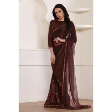 CHOCOLATE BROWN DESIGNER READY MADE PARTY WEAR INDIAN SAREE