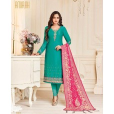 TURQUOISE STRAIGHT INDIAN READY TO WEAR CHURIDAR SUIT