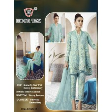 Turquoise Party Frock Heavy Embroidered Pakistani Suit