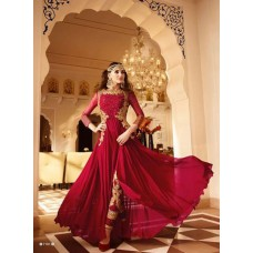 AUBURN RED GLOSSY DESIGNER GEORGETTE DRESS