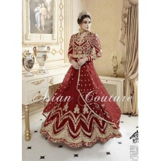 Red Asian Indian Modest Bridesmaid Wedding Dress