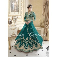 Teal Asian Indian Modest Bridesmaid Wedding Dress