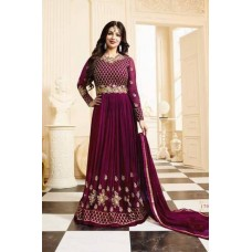 PLUM HEAVY EMBROIDERED INDIAN DESIGNER ANARKALI STYLE GOWN