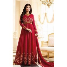 RED HEAVY EMBROIDERED ANARKALI STYLE INDIAN GOWN