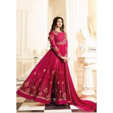 BURGUNDY STYLISHLY HEAVY EMBROIDERED INDIAN ANARKALI SUIT