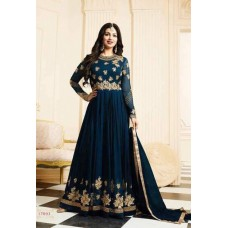 NAVY BLUE HEAVY EMBROIDERED ANARKALI INDIAN STYLE GOWN