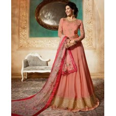 PEACH INDIAN PARTY & MEHNDI WEAR READY MADE GOWN