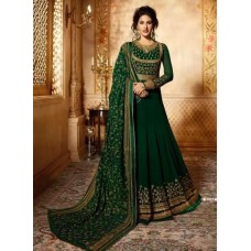 DARK GREEN INDIAN PARTY & MEHNDI WEAR READY MADE GOWN