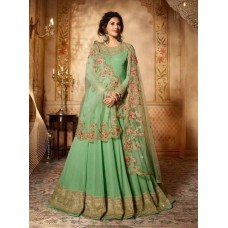 GREEN INDIAN PARTY & MEHNDI WEAR READY MADE GOWN