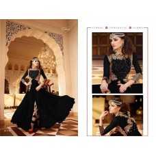 7101-B BLACK GLOSSY PARTY WEAR GEORGETTE DRESS