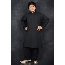 Black Young Boys Festive Kurta Pyjama Suit