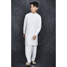 Brilliant White Pakistani Simple Yet Stylish Boys Suit