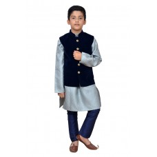 GREY AND NAVY BLUE WAISTCOAT AND KURTA READY MADE BOYSWEAR SUIT