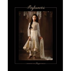 8074 OFF WHITE KARMA NET FABRIC HEAVY EMBROIDERED PARTY WEAR INDIAN DESIGNER ANARKALI SUIT FOR GIRLS