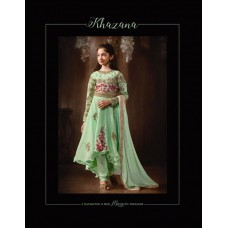 8077 GREEN KARMA EMBROIDERED PARTY WEAR SILK FABRIC ANARKALI SUIT FOR GIRLS