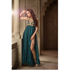 3502 GREEN AND GOLD MAISHA MASKEEN ASTER PARTY WEAR SUIT