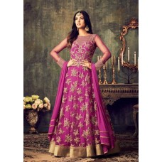 HOT PINK INDIAN MAXI PARTY AND BRIDAL ANARKALI SUIT (LARGE SIZE)