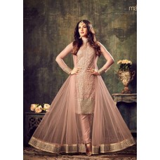 PEACH INDIAN MAXI PARTY AND BRIDAL ANARKALI DRESS (LARGE SIZE)