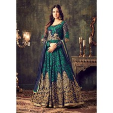 NAVY BLUE INDIAN MAXI PARTY AND BRIDAL ANARKALI SUIT (LARGE SIZE)