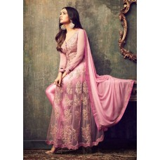 PINK INDIAN MAXI PARTY AND BRIDAL ANARKALI SUIT (LARGE SIZE)