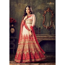 WHITE AND RED INDIAN MAXI PARTY AND BRIDAL ANARKALI SUIT (LARGE SIZE)