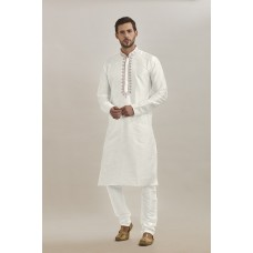 WHITE KASHMIRI STYLE PAJAMA KURTA READY MADE GENTS SUIT