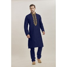 BLUE  KURTA AND PYJAMA READY MADE MENSWEAR EID SUIT