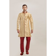 GOLD AND MAROON SLEEK KURTA AND PAJAMA INDIAN WEDDING WEAR