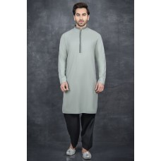 ASH GREY & BLACK FESTIVE MEN'S READYMADE KURTA SALWAR