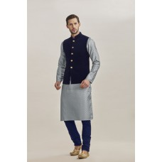 GREY AND NAVY BLUE WAISTCOAT STYLE PAJAMA READY MADE EID SUIT