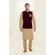 GOLD KURTA AND MAROON NEHRU JACKET WITH PAJAMA READY MADE EID DRESS