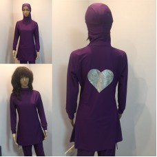 New Women Long Sleeve Muslim Islamic Full Cover Purple Costume Modest Swimwear Burkini
