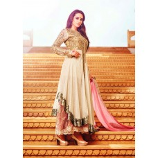 35006 BROWN AND PINK MOHINI GLAMOUR PARTY WEAR SEMI STITCHED DRESS