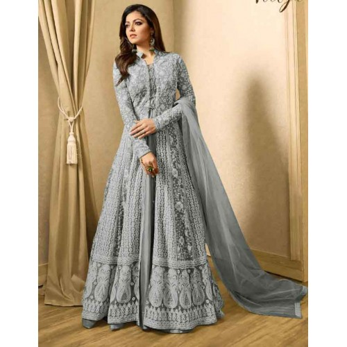 331a17807630 LILAC GREY INDIAN DESIGNER EVENING PARTY GOWN