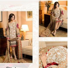 BROWN MEHWISH HAYAT PAKISTANI STYLE READY MADE SUIT
