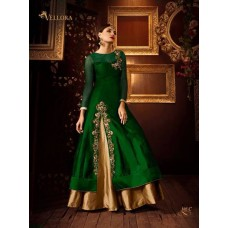 GREEN AND GOLD PREMIUM SILK EMBROIDERED READY MADE DRESS (LARGE SIZE)