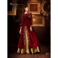 RED AND GOLD PREMIUM SILK EMBROIDERED READY MADE DRESS (LARGE SIZE)