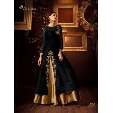 BLACK AND GOLD PREMIUM SILK EMBROIDERED READY MADE DRESS (LARGE SIZE)