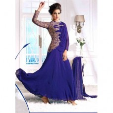 BLUE WEDDING WEAR GEORGETTE & NET LONG ANARKALI SUIT