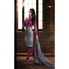 PURPLE AND SILVER HEROINE STRAIGHT CUT DESIGNER DRESS