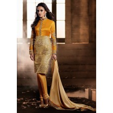 YELLOW AND GOLD HEROINE STRAIGHT CUT DESIGNER DRESS