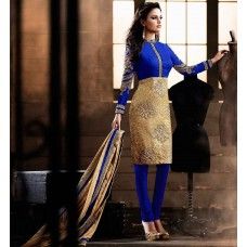 ROYAL BLUE AND GOLD HEROINE STRAIGHT CUT DESIGNER DRESS