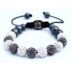 GREY AND SILVER WHITE UNISEX CRYSTAL BALL BRACELET