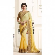 17703 YELLOW AND CREAM KASEESH PRACHI GEORGETTE SAREE WITH HEAVY EMBROIDERED BLOUSE